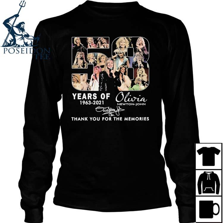 58 Years Of 1963 2021 Olivia Newton John Thank You For The Memories Signature Shirt Long Sleeved
