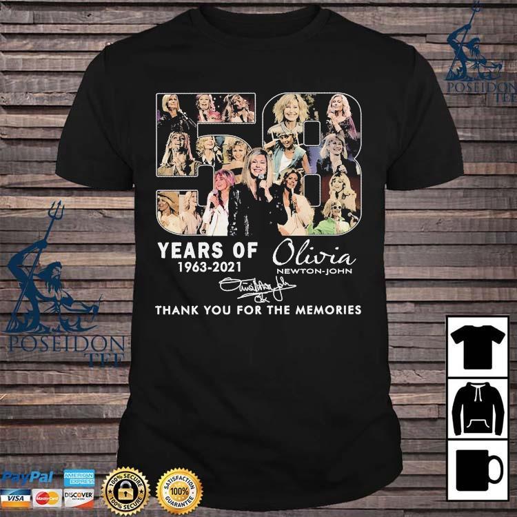 58 Years Of 1963 2021 Olivia Newton John Thank You For The Memories Signature Shirt