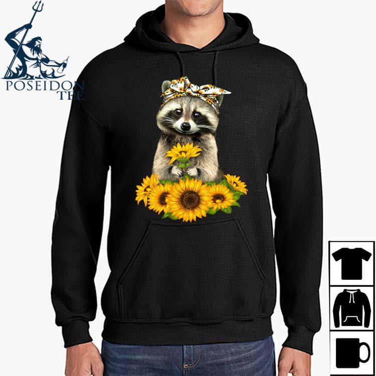 Raccoon Hug Sunflower Shirt Hoodie