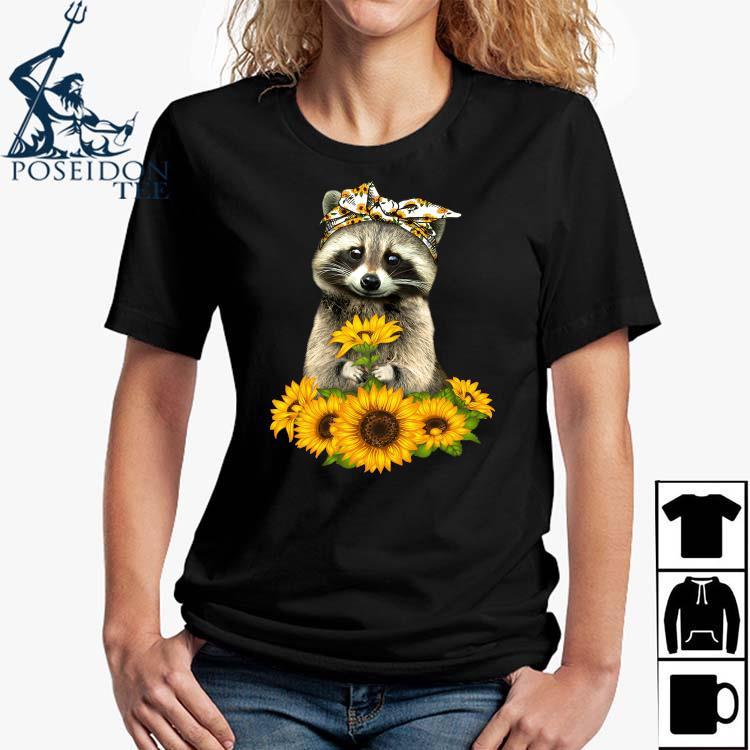 Raccoon Hug Sunflower Shirt Ladies Shirt