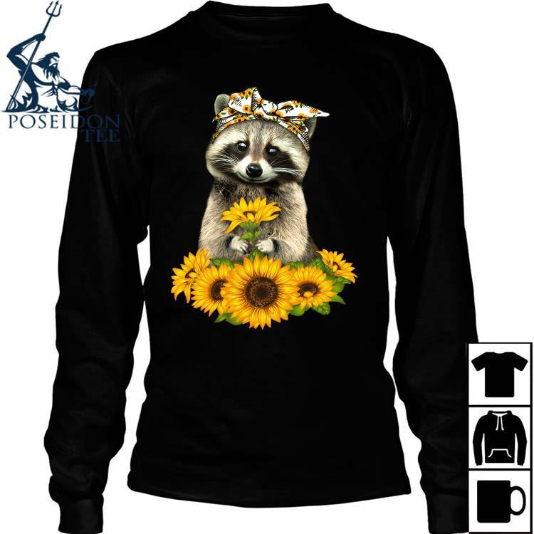 Raccoon Hug Sunflower Shirt Long Sleeved