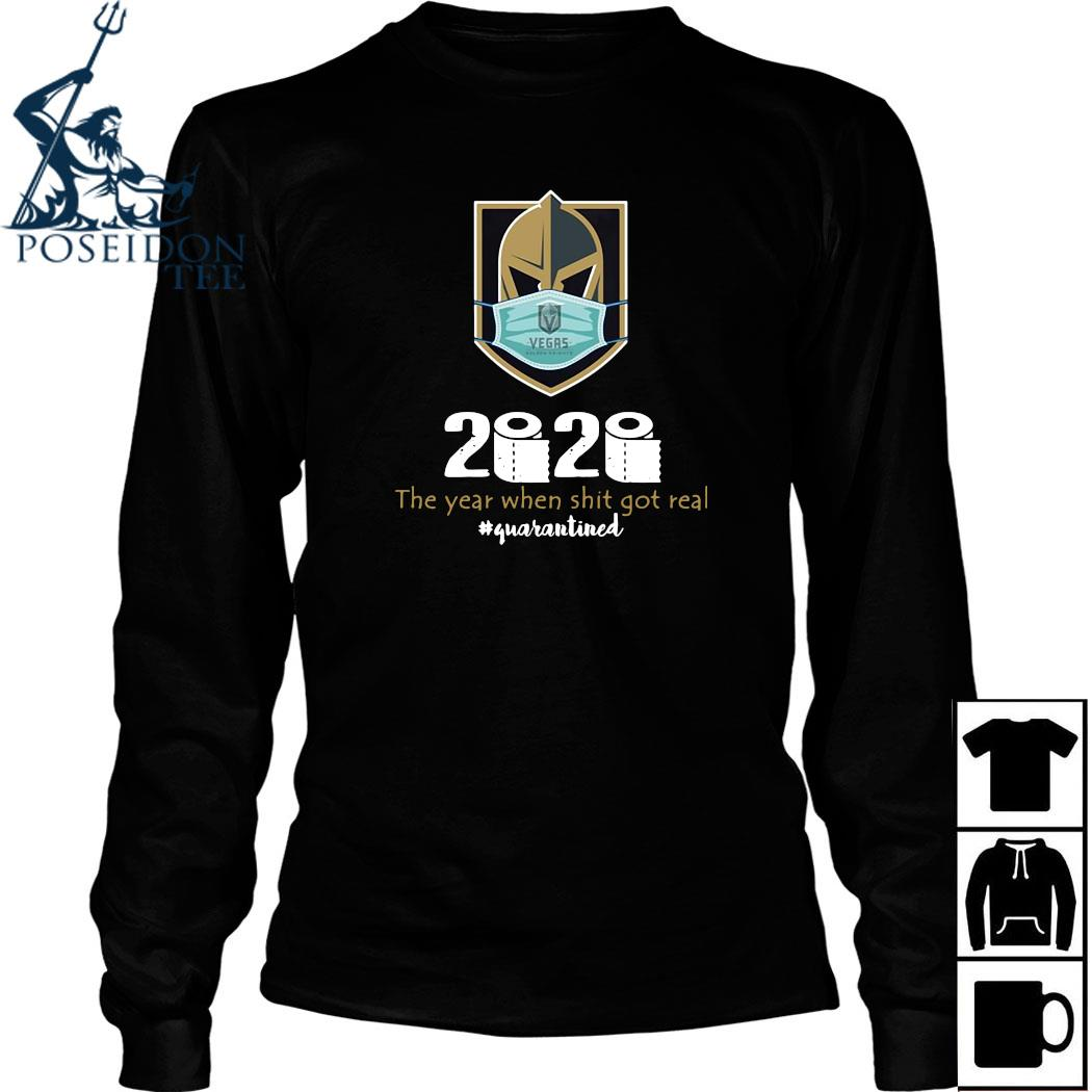 Vegas Golden Knight Mask 2020 The Year When Shit Got Real Quarantined Shirt Long Sleeved