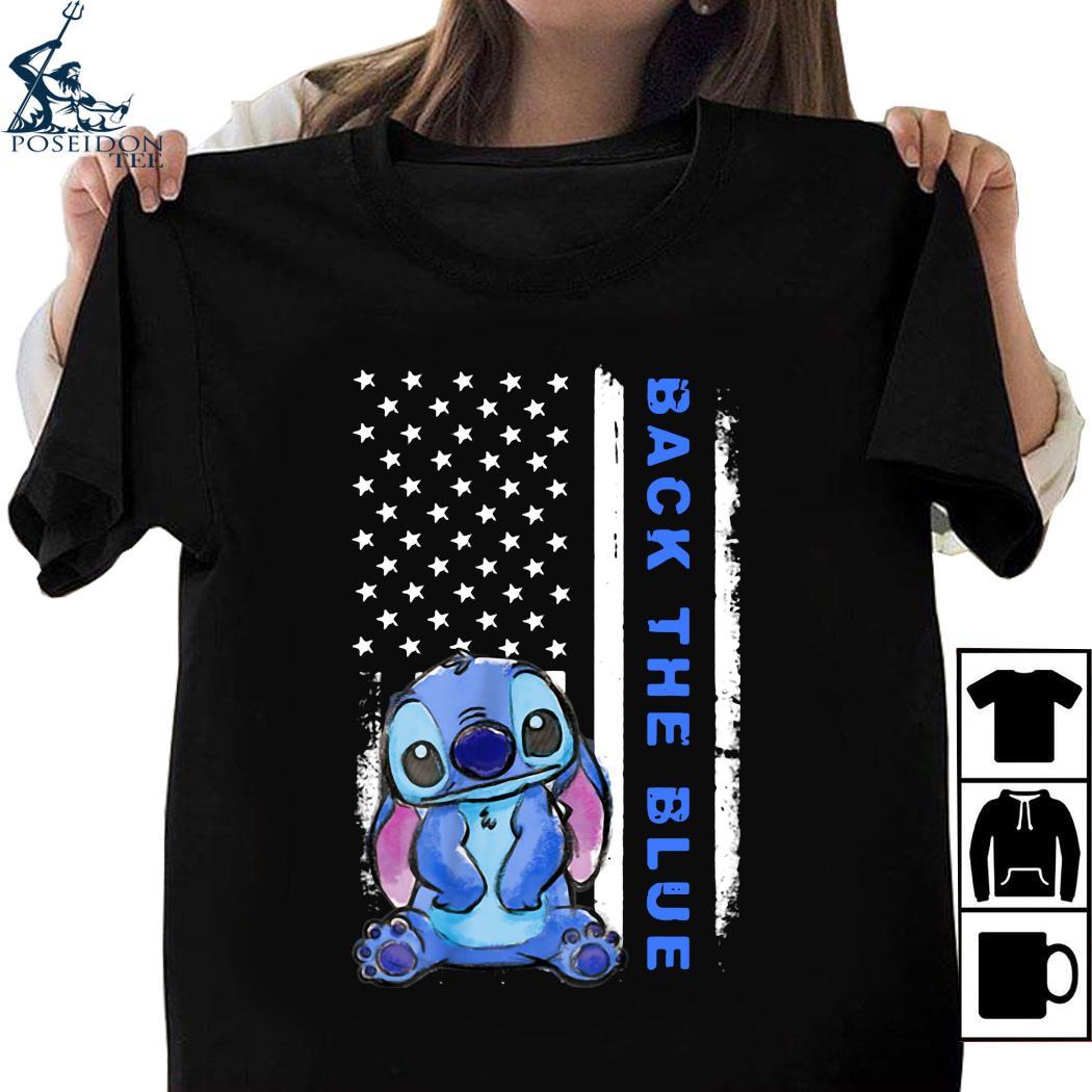 Stitch American Flag Back The Blue Shirt