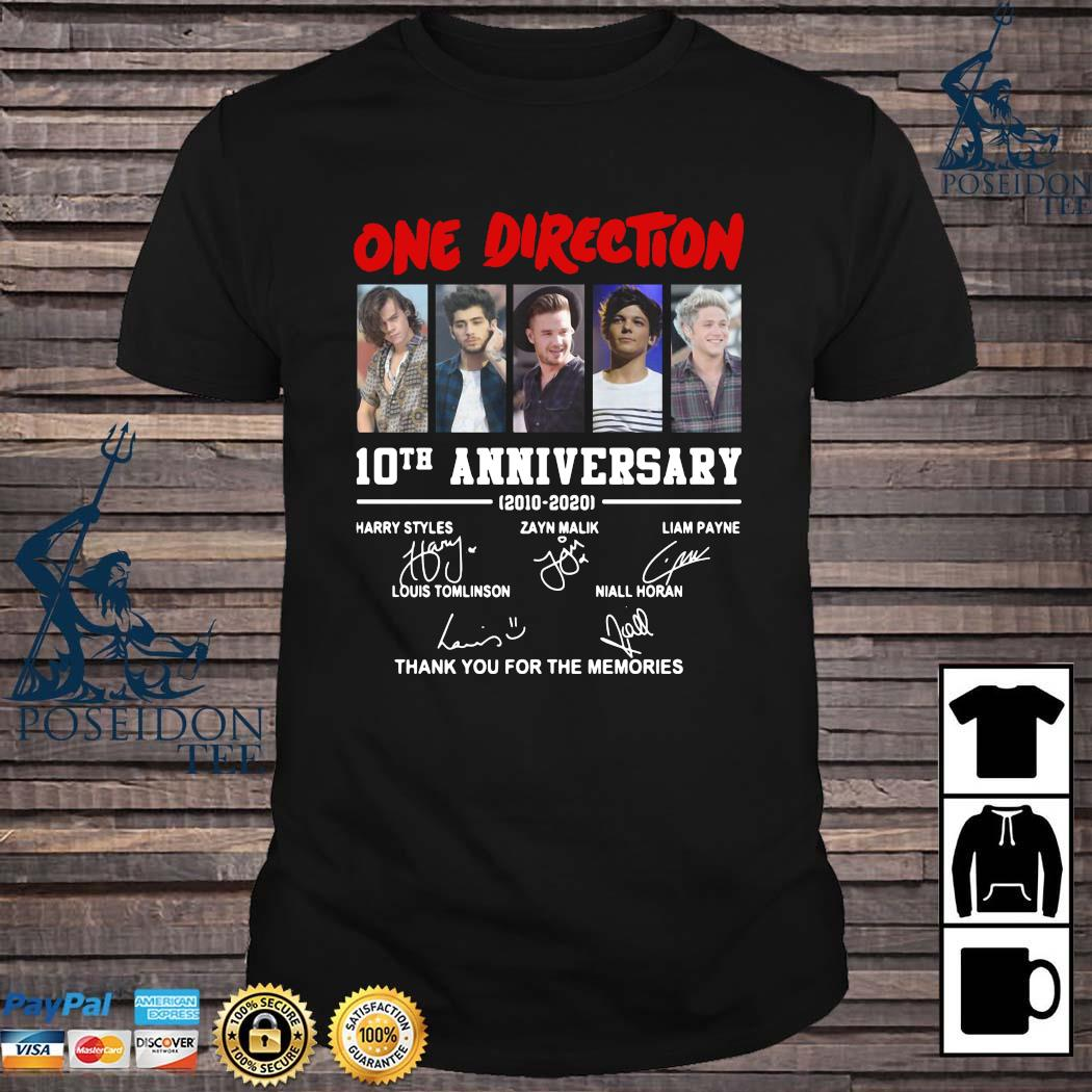 On Direction 10th Anniversary Thank You For The Memories Signatures Shirt