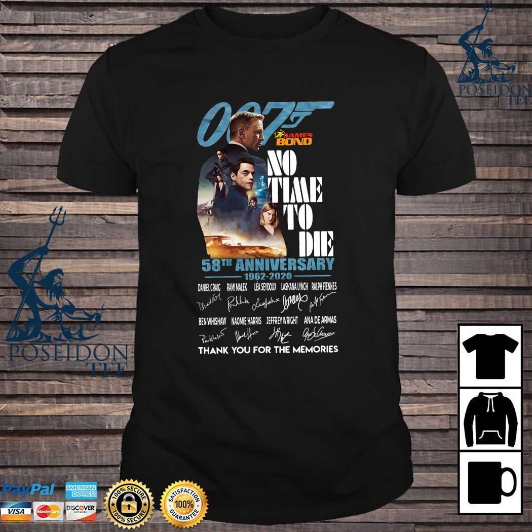 007 James Bond No Time To Die 58th Anniversary 1962 2020 Thank You For The Memories Signatures Shirt