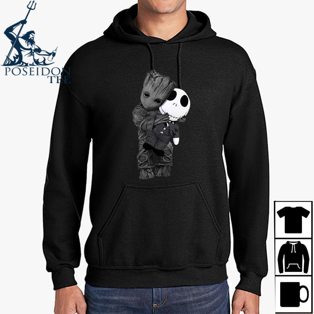 Baby Groot Hug Jack Skellington Shirt Hoodie