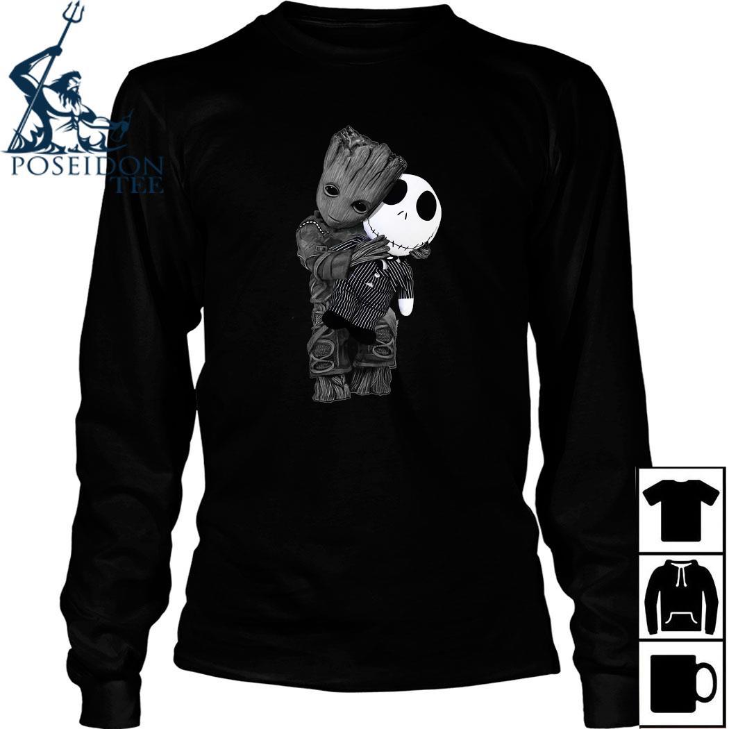 Baby Groot Hug Jack Skellington Shirt Long Sleeved