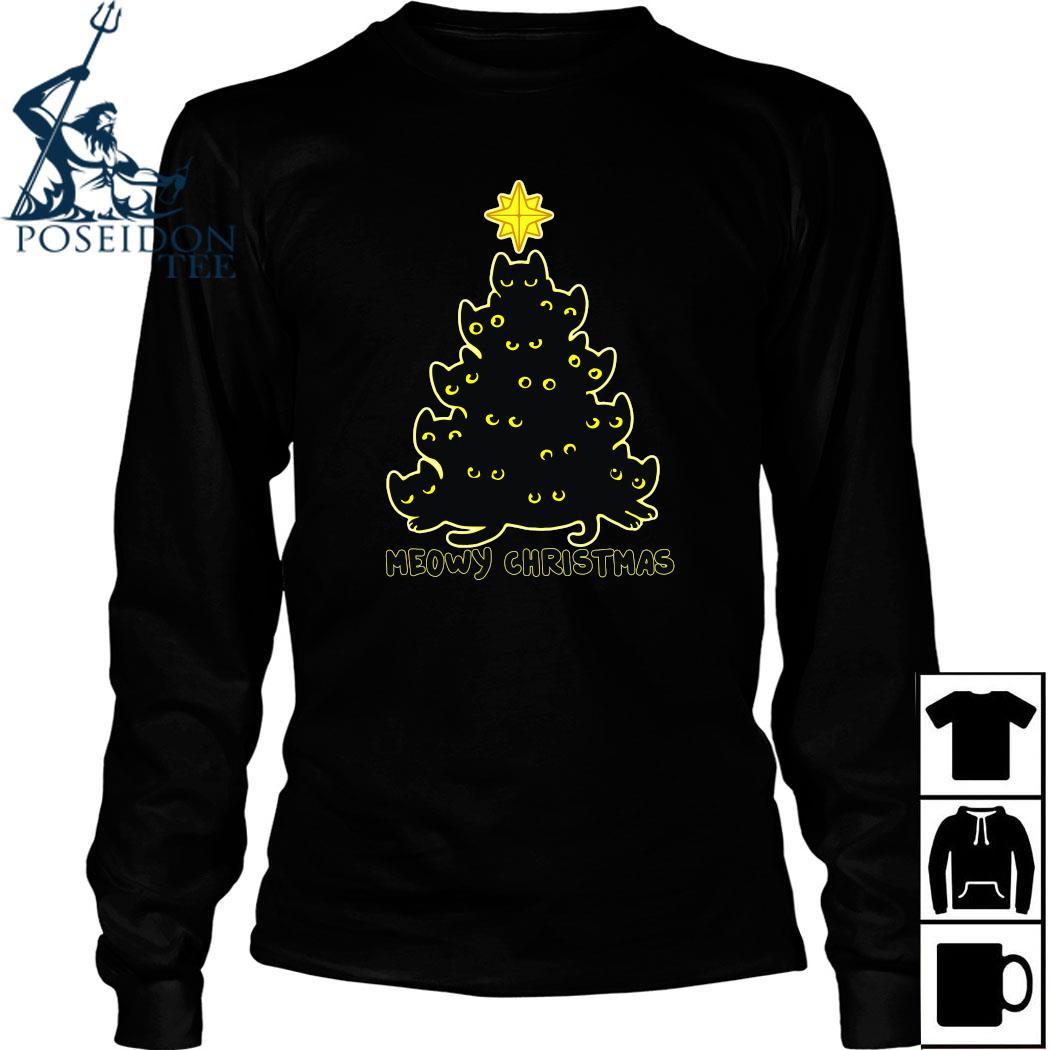 Black Cat Meowy Christmas Shirt Long Sleeved
