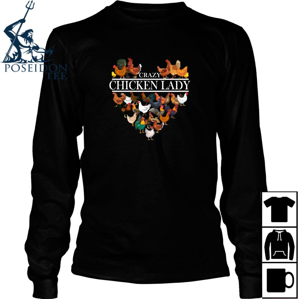 Crazy Chicken Lady Heart Shirt Long Sleeved