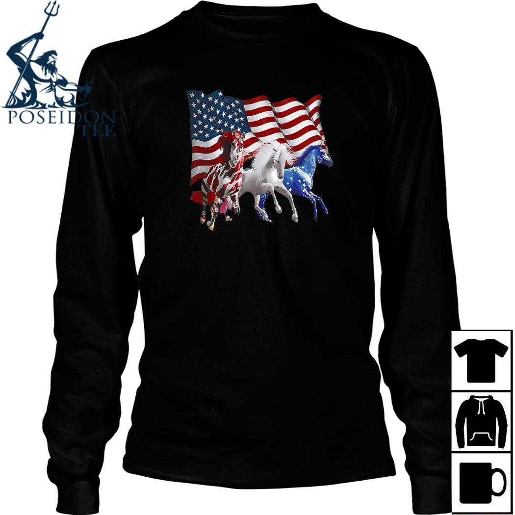 Horse American Flag Shirt Long Sleeved