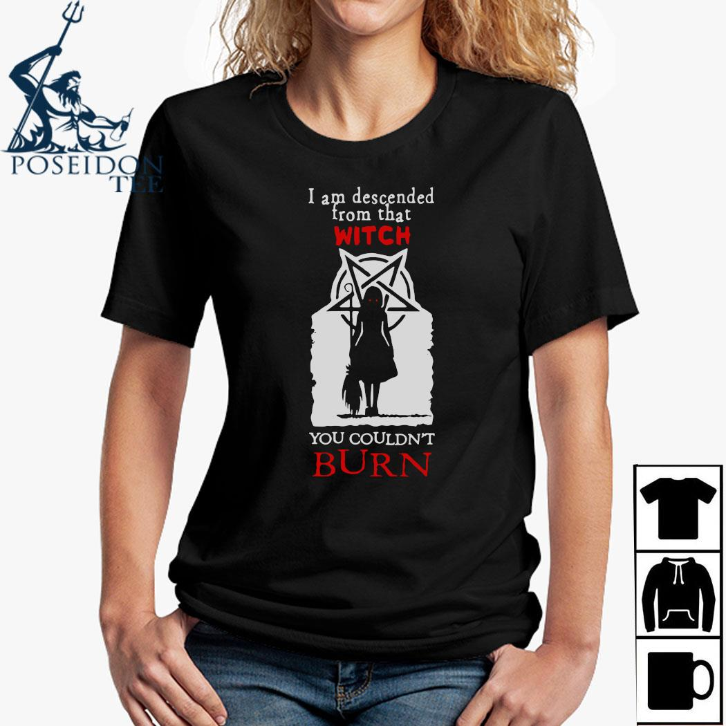 I Am Descended From That Witch You Couldn't Burn Shirt Ladies Shirt