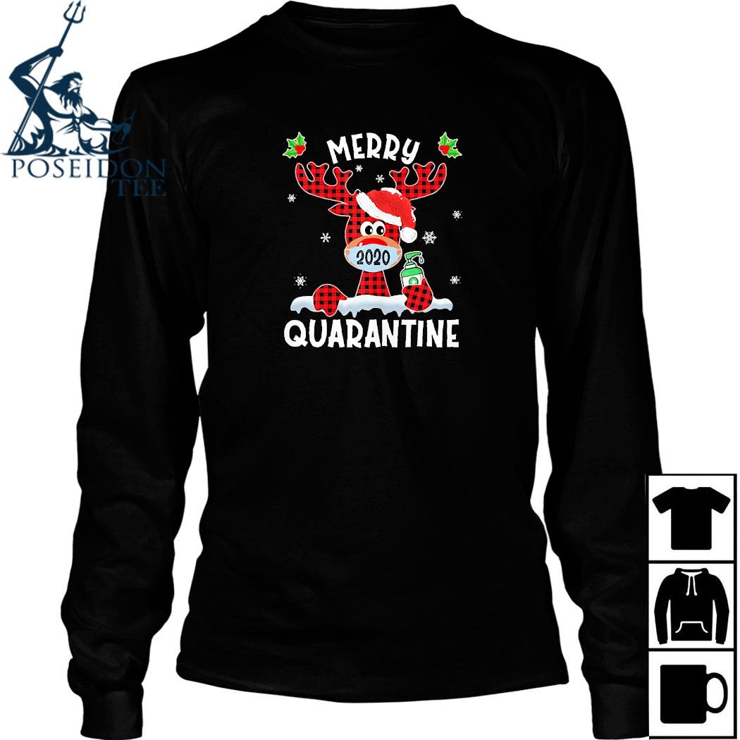 Merry Quarantine Christmas 2020 Reindeer Mask Family Pajamas Shirt Long Sleeved