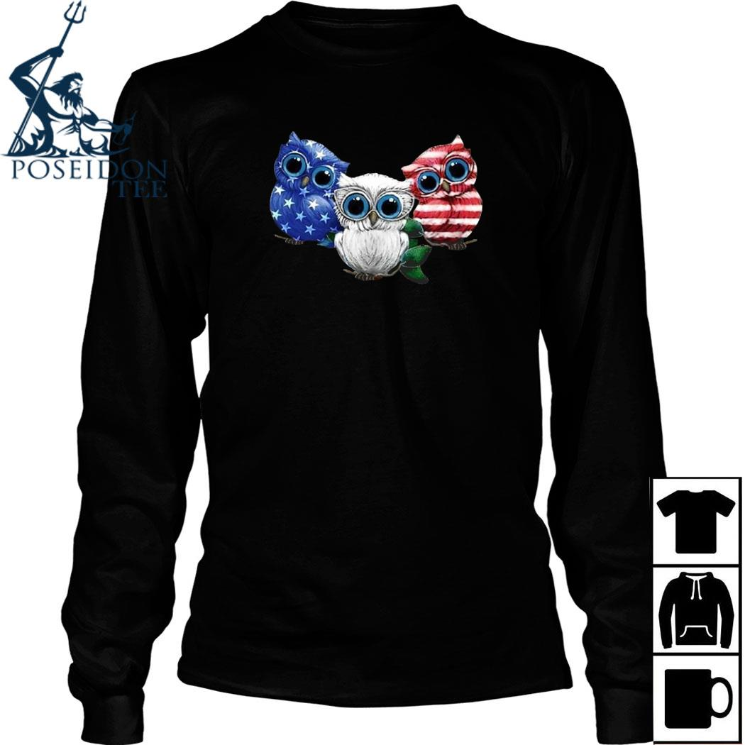 Owls American Flag Shirt Long Sleeved