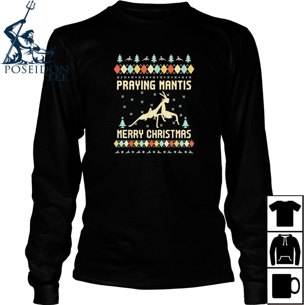 Praying Mantis Ugly Christmas Shirt Long Sleeved