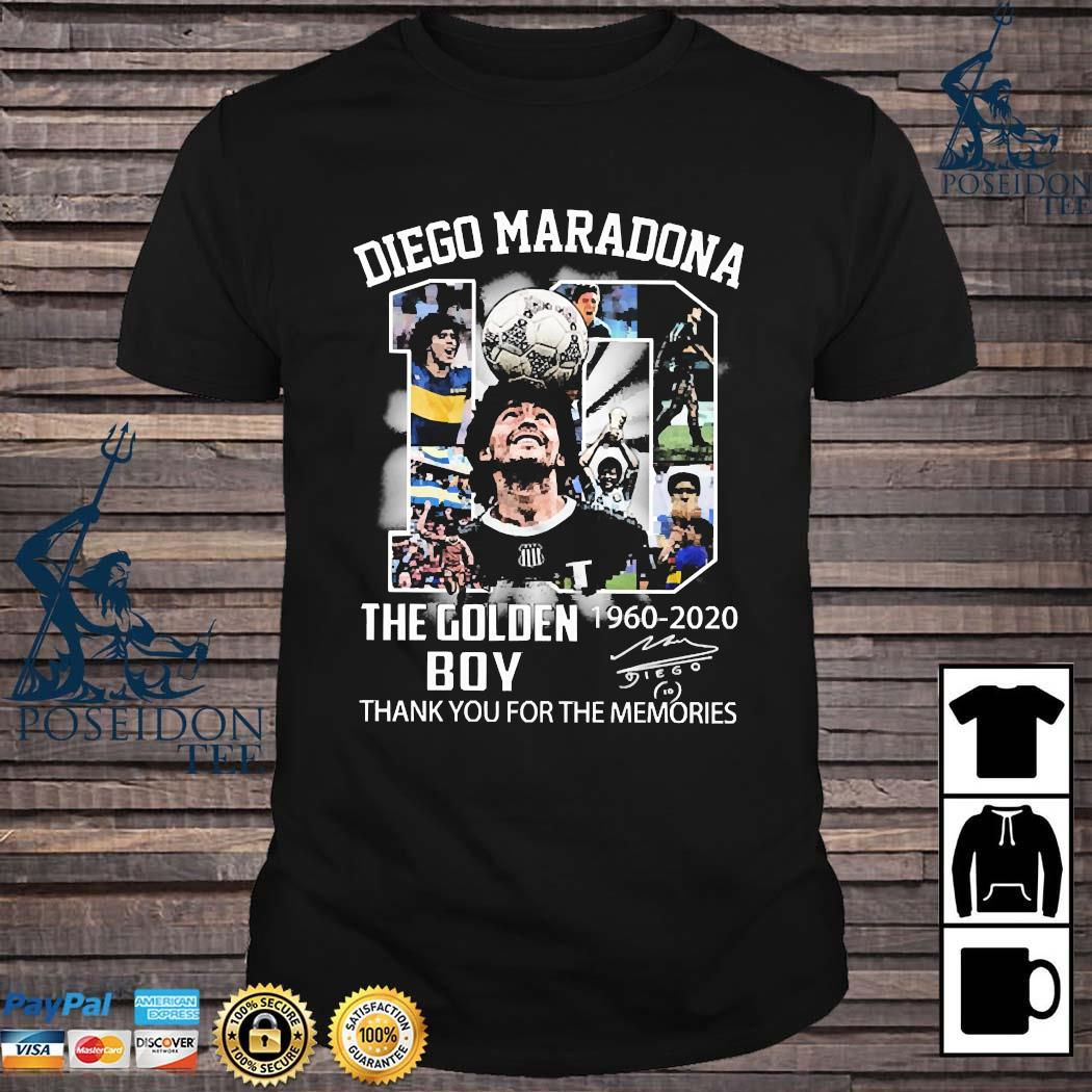 10 Diego Maradona The Golden Boy 1960 2020 Thank You For The Memories Signature Shirt