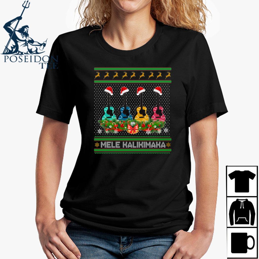 Guitar Mele Kalikimaka Christmas Shirt Ladies Shirt