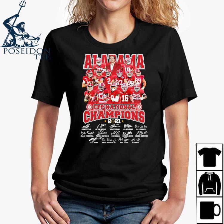 Alabama Crimson Tide CFP National Champions 2021 Signatures Shirt Ladies Shirt