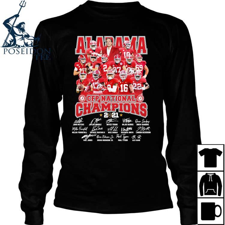 Alabama Crimson Tide CFP National Champions 2021 Signatures Shirt Long Sleeved