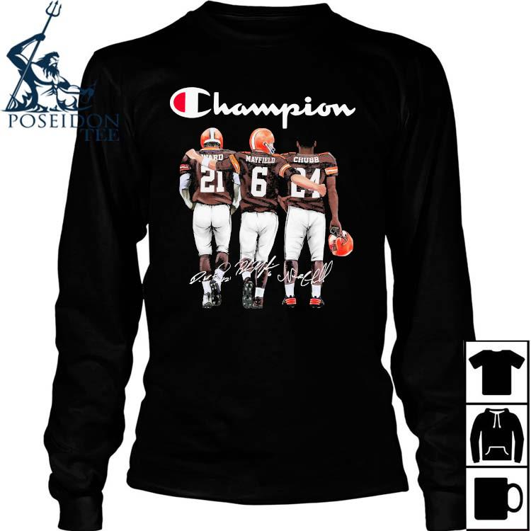 Cleveland Browns Ward Mayfield And Chubb Champion Shirt Long Sleeved