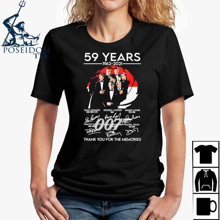 007 59 Years 1962 2021 Thank You For The Memories Signatures Shirt Ladies Shirt