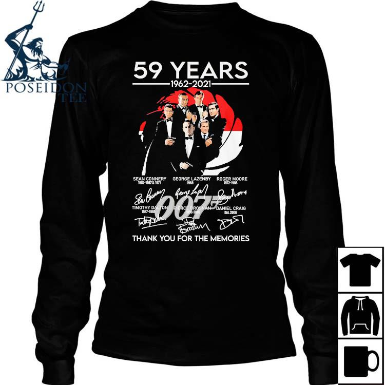 007 59 Years 1962 2021 Thank You For The Memories Signatures Shirt Long Sleeved